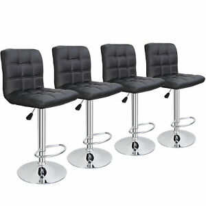 Set of 4 Bar Stools Adjustable Height Dining Swivel Pub Counter Chair Black