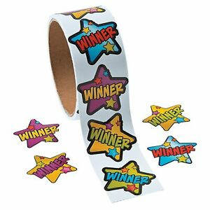 Winner Star Stickers on Roll - 100 Stickers