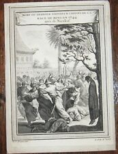 c.1749 CHINA COPPER ENGRAVING EMPEREOR CHINOIS Histoire Generale Voyages HANGING