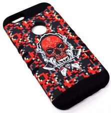 for iPhone 6 6S Red Skull Skeleton Pixel Dot Black Rubber Hybrid Protective Skin