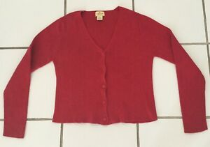 Vintage Limited America Womens Cardigan Sweater Button V Neck Cotton Red Sz S