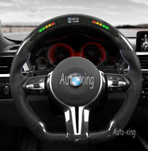 For BMW M1 M2 M3 M4 F80 F82 F30 Carbon Fiber Flat Perforated Led Steering Wheel