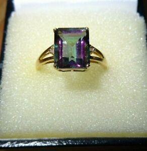 Beautiful Hallmarked 9ct gold Multi Coloured Baguette Stone & Diamond ring.