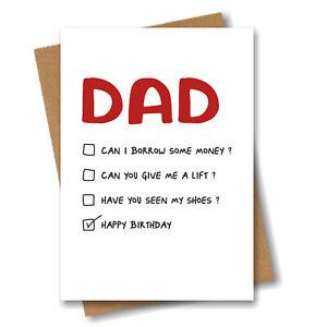 Funny Birthday Card for Dad - Multi Choice Happy Birthday - Joke Humour