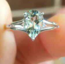 Natural Green Amethyst Diamond Solid 9K White Gold Ring Statement Cocktail Dress