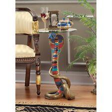 "Renenutet 24½"" Hand Painted Egyptian Cobra Goddess Glass Topped Table"