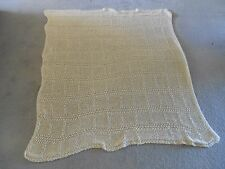 Hand Crocheted Afghan Throw Creamy White Shabby Cottage Chic Approx. 46 x 77