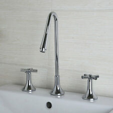 UK Bathroom 3PCS Widespread Waterfall Basin Sink Faucet Mixer Taps Chrome
