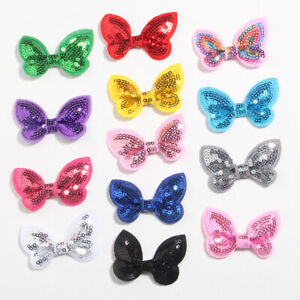 """30PCS 2.3"""" 6CM Mini Sequin Hair Bows For Girls Headband Boutique Butterfly Head"""