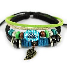 Jahrgang Damen Perlen Yogo Strecke Leder Buddha Viel Glück Armband Geschenk