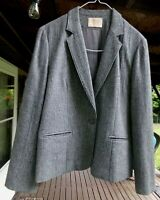 Pendleton Houndstooth Women's Plaid Blazer Jacket Gray W Lining Size 10 Wool EUC