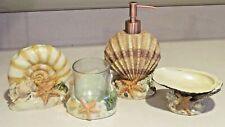 4pc Sea Shell Bath Accessory Set Toothbrush, Tumbler Lotion Soap Dish New
