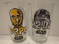 Set 2 C-3PO R2-D2 Star Wars Drinking Glasses Tumbler Set by Zak Designs retro