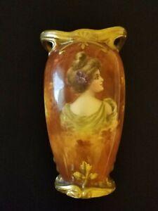 """Antique Royal Bonn Porcelain  Gold PORTRAIT VASE  Hand Painted  8"""" Germany"""