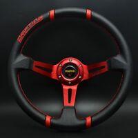 350mm PVC Deep Dish Steering Wheel For MOMO Hub OMP Drifting Racing Red Spoke