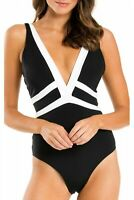 Jets 170443 Womens Plunging V-neck One-piece Swimsuit Black/White Size 8