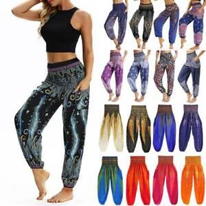 Women's Boho Harem Pants Baggy Gypsy Hippie Palazzo Casual Loose Yoga Unisex A8