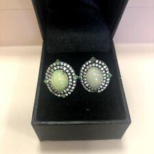 Rarities Carol Brodie  Opal, Tsavorite, White Zircon Sterling Stud Earrings $499