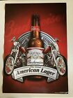 NEW Budweiser Motorcycle Paper Poster Man Cave Bar Pub Banner Sign American Bud