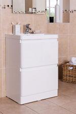 600mm White Modern Bathroom Floorstanding Vanity Basin Sink Unit 2 Drawer