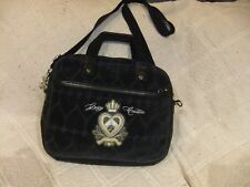 "Juicy Couture Black Velour w/ PVC Trim Laptop Shoulder Bag - 14"" x 11"""
