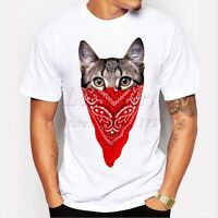 Men's funny short sleeve gangster cat printed t-shirt O-neck cool tops T039