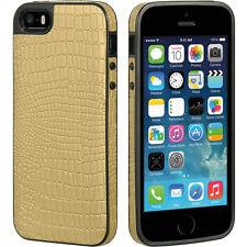 iPhone SE 5S - HARD LEATHER RUBBER GUMMY CASE COVER GOLD / BLACK CROCODILE SKIN