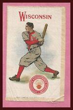 OLD 1910 University of Wisconsin Badgers Murad Tobacco Silk BASEBALL!