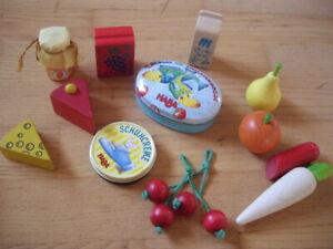 HABA Kaufladenzubehör Dose Fische Schuhcreme Käse Obst Milch Käse Marmelade Saft