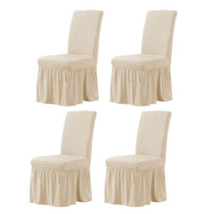 4 Pieces Long Skirt Dining Room Chair Slipcovers Stretch Covers Protector