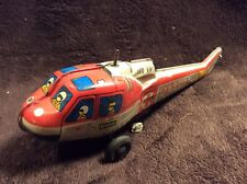 Vintage Japan Tin Friction Rescue Helicopter, Toy Vehicle, Parts or Restore