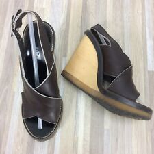 Chloe' Dune Sandals 37 US 6.5 Dark Brown Leather Wood Wedge Slingback Shoes