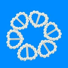 100x Wedding Invitations Card Craft Acrylic Pearl Heart Ribbon Slider Buckles