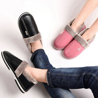 Men Women Winter Plush Slippers PU Non-slip Indoor Home Shoes Waterproof Slipper