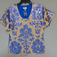 NEIMAN MARCUS for TARGET TRACY REESE $79.99 SEQUINED TOP BLOUSE BLUE SEQUIN ECRU