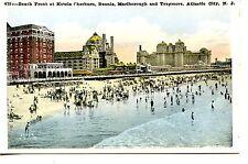 Hotels on Ocean Beach Front-People-Atlantic City-New Jersey-Vintage Postcard