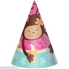 PINK MOD MONKEY LOVE CONE HATS (8) ~ Birthday Party Supplies Favors Bananas