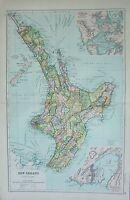 1912 Groß Antik Landkarte ~ Newzealand North Island Umgebung Wellington &