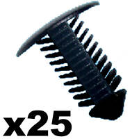 25x Black Fir Tree Trim Panel Clips- 8mm Hole- 18mm Head- Perfect for VW