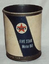 VINTAGE CALTEX MOTOR OIL Original Tin CAN Advertisement Item 1950