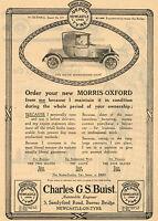 1920 Original Vintage Morris Oxford Coupe Motor Car Automobile Art Print Ad