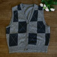 Jaeger Grey & Black 100% Pure New Wool Waistcoat Cardigan Size 12 Great Britain
