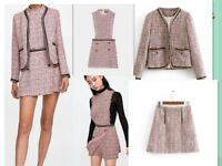 Womens Chain twill Tweed Jacket Blazer short coat Outwear /skirt/Jumpsuit set