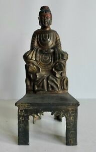 RARE OLD CHINESE BRONZE TEMPLE GOD BUDDHA STATUE - CHARACTER MARKS ON THE FRONT