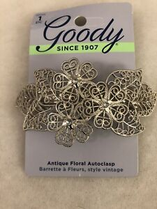 New Goody Antique Floral Autoclasp Silver Flowers w/Crystals, vintage style