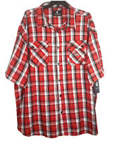 Rocawear Classic Button Up Shirt Size 6XB Mens Short Sleeve Red Plaid Casual