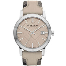 Burberry BU9021 Women's Large Check Tan Leather & Canvas Strap Cream Dial Watch