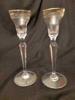 "Pair of Waterford Marquis ""Hanover Gold"" Crystal 7-7/8"" Candlesticks - Excellent"