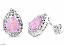 Pink Fire Opal Drop / Pear Cut White Sapphire CZ Sterling Silver Stud Earrings