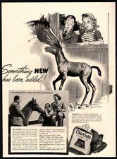 1942 OLD GOLD Cigarettes - Boy & Girl - Baby Horse - Retro - Farm VINTAGE AD